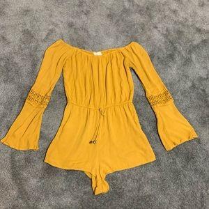Mustard yellow long sleeve romper